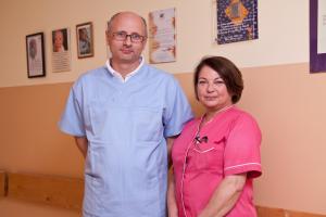 Kierownik Oddziału Ginekologiczno-Położniczego dr n. med. Witold Skrzypek, Pielęgniarka Oddziałowa mgr Wanda Jesionowska